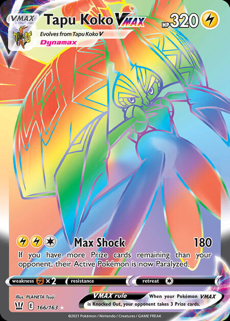Tapu Koko VMAX Battle Styles 166