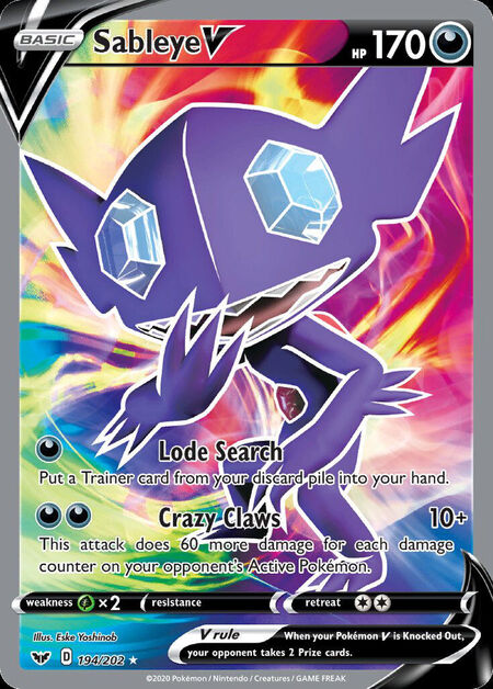 Sableye V Sword Shield 194